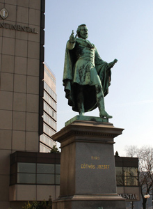 Statue of Jozsef Eotvos outside Intercontinental Hotel in Budapest