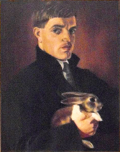 Ferenc Martyn - Selfportrait with pet rabbit, 1919