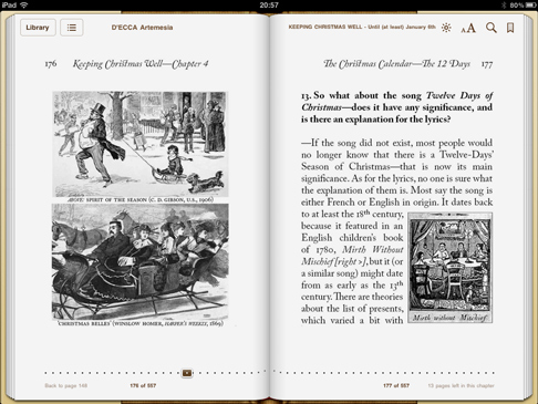 iPad screenshot 'Keeping Christmas Well' pp.176-177