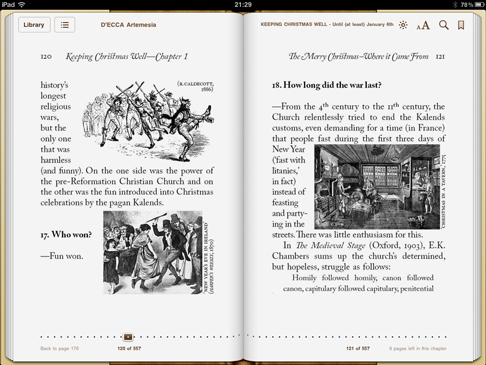 iPad screenshot 'Keeping Christmas Well' (pp120-121)