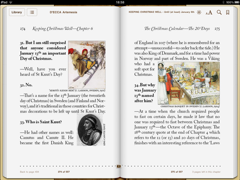 iPad screenshot 'Keeping Christmas Well' (pp.274-275)